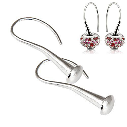 Ollia Jewelry 1 Pair 925 Sterling Silver Earrings Sleek Fish Hook Shape Teardrop Earrings Accessories Fit European Style Beads and Charms