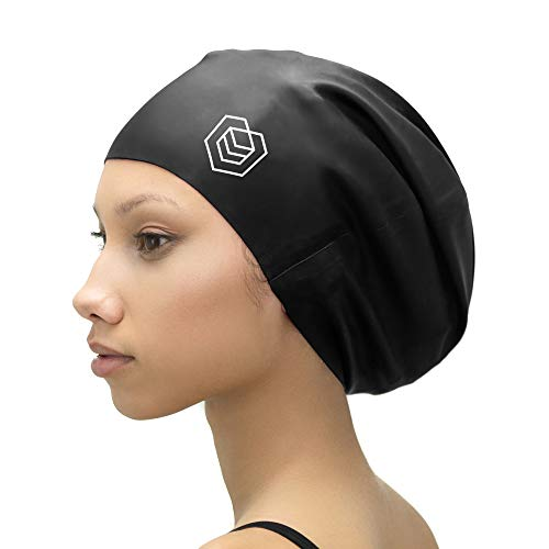 SOUL CAP XL - Extra Large Swimming Cap/Shower Cap | Designed for Long Hair, Dreadlocks, Weaves, Hair Extensions, Braids, Curls & Afros | Women & Men Silicone (Black) (For Women Cap Black Swim)