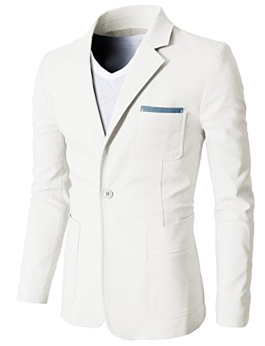 H2H Mens Breathable Linen Daily Blazer for work WHITE US XL/Asia 2XL...