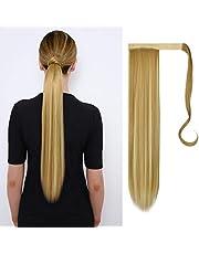 FESHFEN Lange Rechte Wikkel Rond Paardenstaart Extensions Synthetische clip in Paardenstaart Hair Extensions Haarstukje voor vrouwen