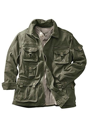 - Boulder Creek Men's Big & Tall Multi-Pocket Twill Jacket, Olive Big-2Xl