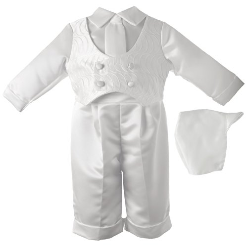 - Lauren Madison Baby-Boys Newborn Christening Baptism 3- Piece Satin Long Pant Outfit Set with Vest., White, 9-12 Months