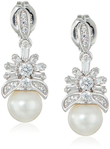 Sterling Silver Freshwater Cultured Pearl and Created White Sapphire Drop Post Dangle Earrings