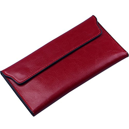 Small Wallets for Women Slim Clutch, Thin Soft Wallets, Red Travelling Purse