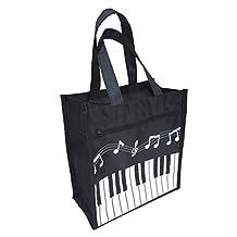 Crosstreesports 450D Oxford Cloth Piano Keys Music Tote Bag Grocery Tote Shopping Bag (Small, Black)