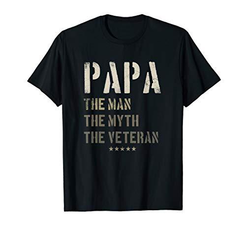 - Papa Man Myth Veteran Fathers Day Gift for Military Veteran T-Shirt