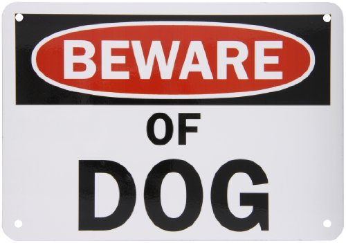 SmartSign Aluminum Sign, Legend 'Beware of Dog', 7' high x 10' wide, Black/Red on White