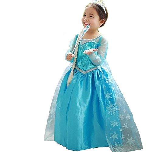 HNXDYY Princess Girls Elsa Costume Party Carnival Long Tail Fancy Dress Up Size (150) 7-8 Years -