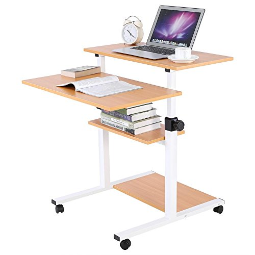 Mobile Stand Up Desk/Height Adjustable Computer Work Station Rolling Presentation Cart for Office Home Use (Wood)