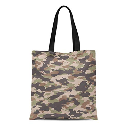 Semtomn Cotton Canvas Tote Bag Brown Woodland Camouflage Pattern 200 Camo in My Portfolio Reusable Shoulder Grocery Shopping Bags Handbag Printed