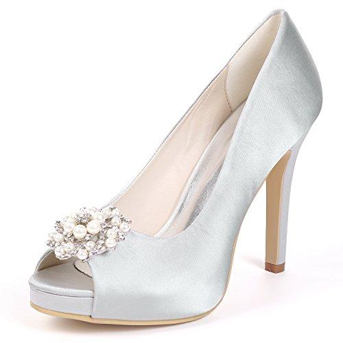 Silver Toe Heels De Stiletto Rhinestones Size L yc Peep plataforma Boda High Las Mujeres Prom Zapatos Rq8xU6wSxZ