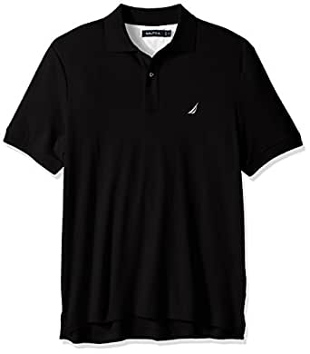 Nautica Mens Classic Fit Short Sleeve Solid Soft Cotton Polo Shirt Short Sleeve Polo Shirt - Black - X-Small