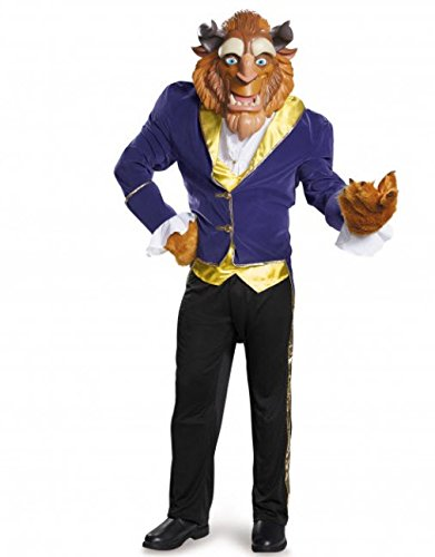 Beast Men's Costume (Disney Disguise Men's Beauty and The Beast Ultra Prestige Costume, Blue, X-Large)