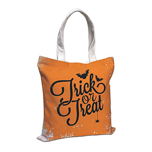 iPrint Cotton Linen Tote Bag, Vintage Halloween,Trick or Treat Halloween Theme Celebration Image Bats Tainted Backdrop Decorative,Orange Black,for Shopping Camping School Casual Pocket