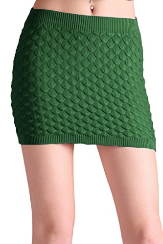 Tyche Women's Textured Sweater Knit Mini Skirt (Green)