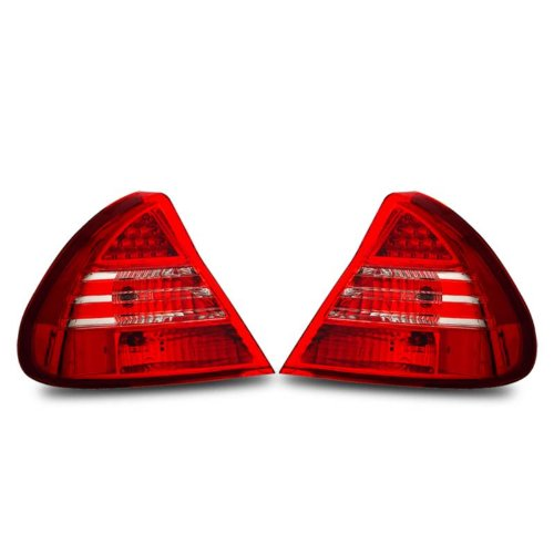 SPPC L.E.D Taillights Red/Clear Assembly Set For Mitsubishi Mirage - (Pair) Driver Left and Passenger Right Side Replacement