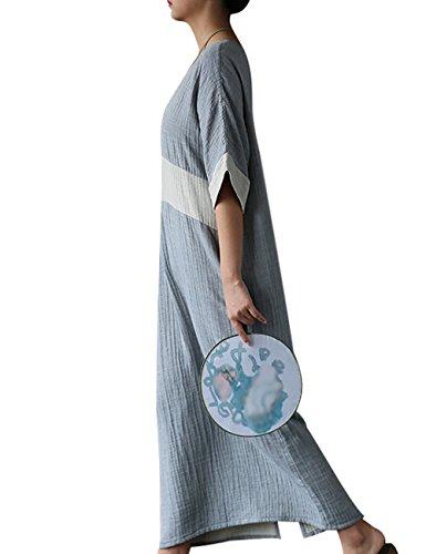 Youlee Mujeres Verano Primavera Cuello en V Manga Corta Vestir Azul claro