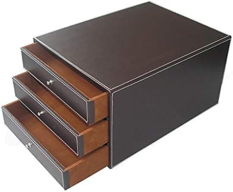 Archivador plano Organizadores de cajones de Oficina Caja de Almacenamiento de Datos de Escritorio de 3 cajones Gabinete de Oficina de Cuero 25 * 33 * 17 cm (Color : Brown): Amazon.es: Electrónica