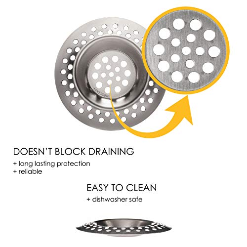 Lines One Portable Steel Hair Catcher, Standard Strainer Drain Protector from Clog for Bathroom, Kitchen, Shower 3 inches