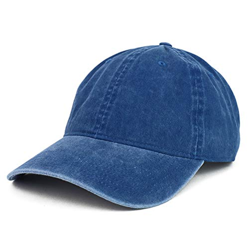 (Armycrew XXL Oversize Big Washed Cotton Pigment Dyed Unstructured Baseball Cap (XXL, Navy))
