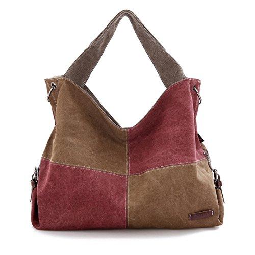 Brown Damen große Canvas Schultertasche Handtasche Messenger Taschen Tolle Umhängetaschen Outdoor Tasche Vintage bag weinrot braun