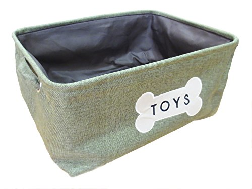 "Winifred & Lily Pet Toy and Accessory Storage Bin, Organizer Storage Basket for Pet Toys, Blankets, Leashes and Food in embroidered ""Toys in a Bone"", Sage Green"