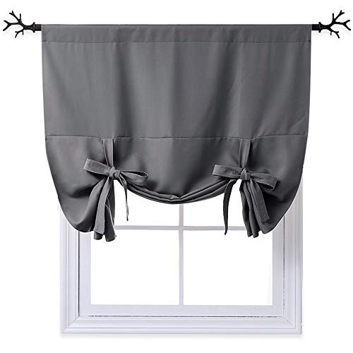nicetown thermal insulated blackout curtain grey tie up import it all. Black Bedroom Furniture Sets. Home Design Ideas