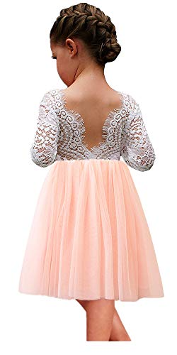 - 2Bunnies Girl Peony Lace Back A-Line Straight Tutu Tulle Party Flower Girl Dresses (Pink Short, 3T)