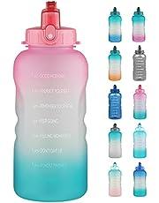 3,8 L/1 Gallon motiverende waterfles met stro & tijdmarker, lekvrij, duurzaam, Tritan BPA-vrij voor fitness, gym en buitensporten