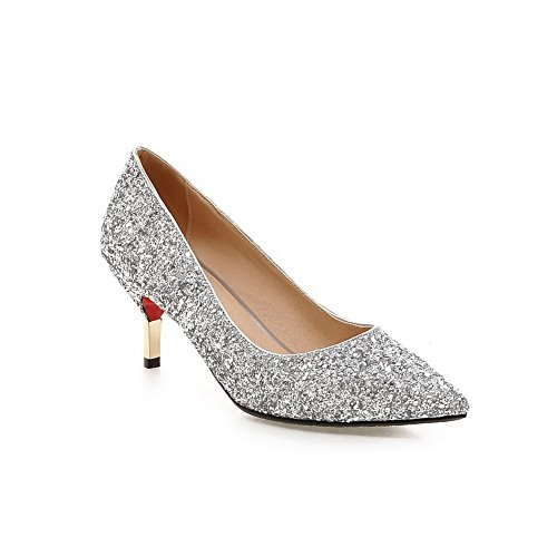 BalaMasa Girls Slip-On Kitten-Heels Solid Silver Pearl Fabric Pumps-Shoes - 10 B(M) - Wiki Silver