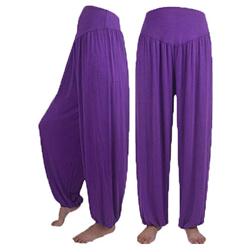 Hivot Wide Leg Pants for Women Dance Harem Pants Lounge PantsYoga Sports Trousers Beach Flared Pants Purple