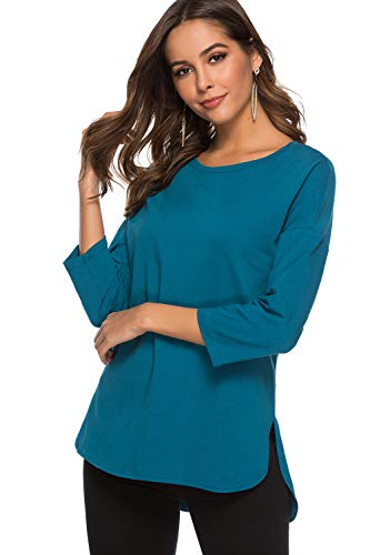 (Women's Cotton and Modal 3/4-Sleeve Scoop Neck Tunic Tops with Cut Hem (XL, Cobalt Blue))