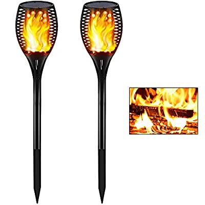 Gold Armour 2 Pack Solar Lights Outdoor - Flickering Flames Torch Solar Path Light - Dancing Flame Lighting 96 Led Dusk to Dawn Flickering Tiki Torches Outdoor Waterproof Garden