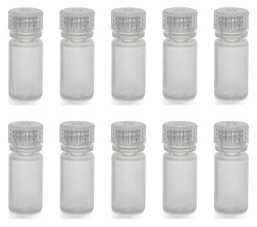 Polypropylene Screw Cap Bottles - Pack of 10 - 4mL Rigid Plastic Reagent Bottle with Narrow Mouth (0.33