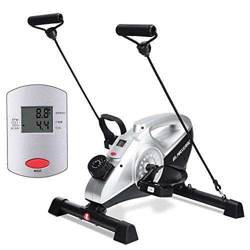 MaxKare Under Desk Exercise Bike 2 in 1 Stationary Magnetic Pedal Exerciser Cycle Bike with LCD Monitor Leg and Arm…