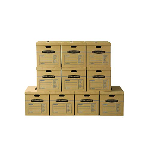 Bankers Box SmoothMove Classic Moving Boxes, Tape-Free Assembly, Easy Carry Handles, Large, 21 x 17 x 17 Inches, 5 Pack (8818201)
