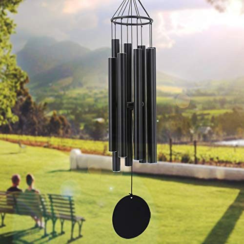 Large Wind Chimes Outdoor Deep Tone,38In Sympathy Outdoor Windchimes Large with 8 Tubes Tuned Relaxing Tone,Soothing Memorial Wind Chimes Amazing Grace for Father,Mother,Garden Décor,Matte Black