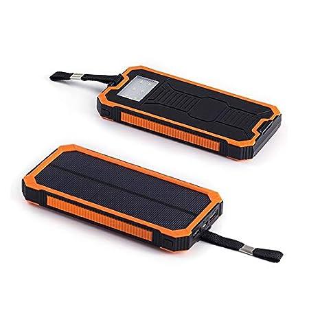 BEESCLOVER Bater/ía del Cargador Solar 20000mAh Dos Puertos solares USB Banco Externo de energ/ía Solar y Enchufe para tel/éfono Inteligente con luz LED Show