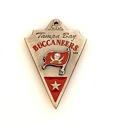 NFL Tampa Bay Buccaneers Football Silver White Blue Banner Pendant Charm