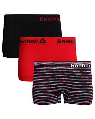 Reebok Womens 3 Pack Seamless Boyshort, Black Space-Dye, Black/Red, Size ()