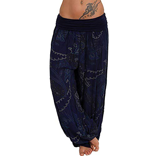 WOCACHI Womens Yoga Pants Wide Leg Leggings Ladies Summer Boho Printed Drawstring Casual Loose Pocket Button Harem Pants 2019 New Deals Gym Fitness Under 10 Dollars July - Embroidered Pants Drawstring