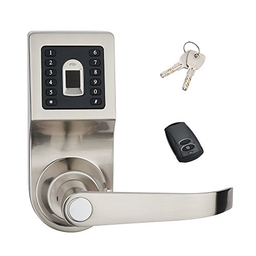 HAIFUAN Digital Door Lock,Unlock with Remote Control or Fingerprint, Code and Key,Default for Left Hand Orientation (Fingerprint+Remote+Code) goodum