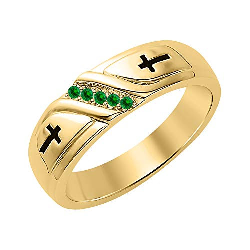 SVC-JEWELS Wedding 5-Stone Men's Cross Ring Green Emerald 18K Yellow Gold Over .925 Sterling Silver