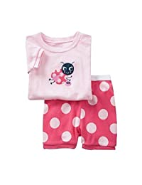 Hooyi Baby Girl Ladybug Sleepwear Cotton Children Short Dot Pajamas Set