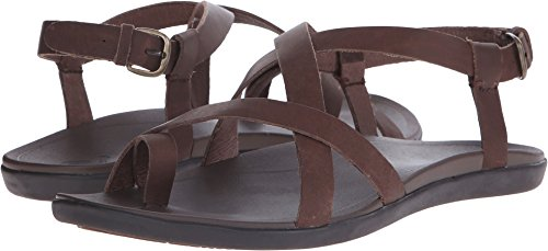 OLUKAI Women's Upena Kona Coffee/Kona Coffee Sandal 11 B (M) - Leather Womens Sandals
