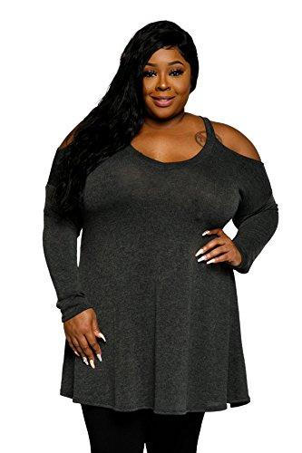 Hadari Women's Plus Size Cold Shoulder V-Neck Tunic Sweater - In When Black Usa Sale Friday Is