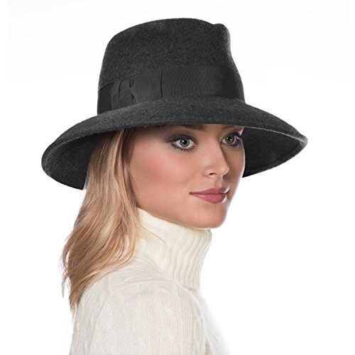 Eric Javits Luxury Fashion Designer Women's Headwear Hat - Wool Kim - Charcoal by Eric Javits