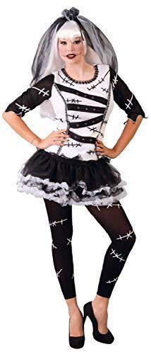 Ladies Frankenstein Creepy Scary Black White Monster Bride Halloween Fancy Dress Costume Outfit 16-18