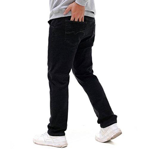 Gran Moda Cintura Vaqueros Negro42 Pants Ocasionales YAANCUN Hombre Vaqueros Harem Tamaño Vaqueros Sueltos Elástica XwaCq1