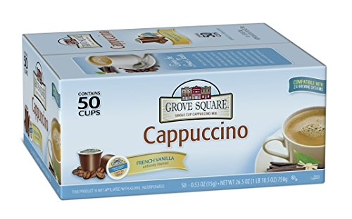 Grove Square Cappuccino, French Vanilla, 50 Single Serve (Make French Vanilla Coffee)